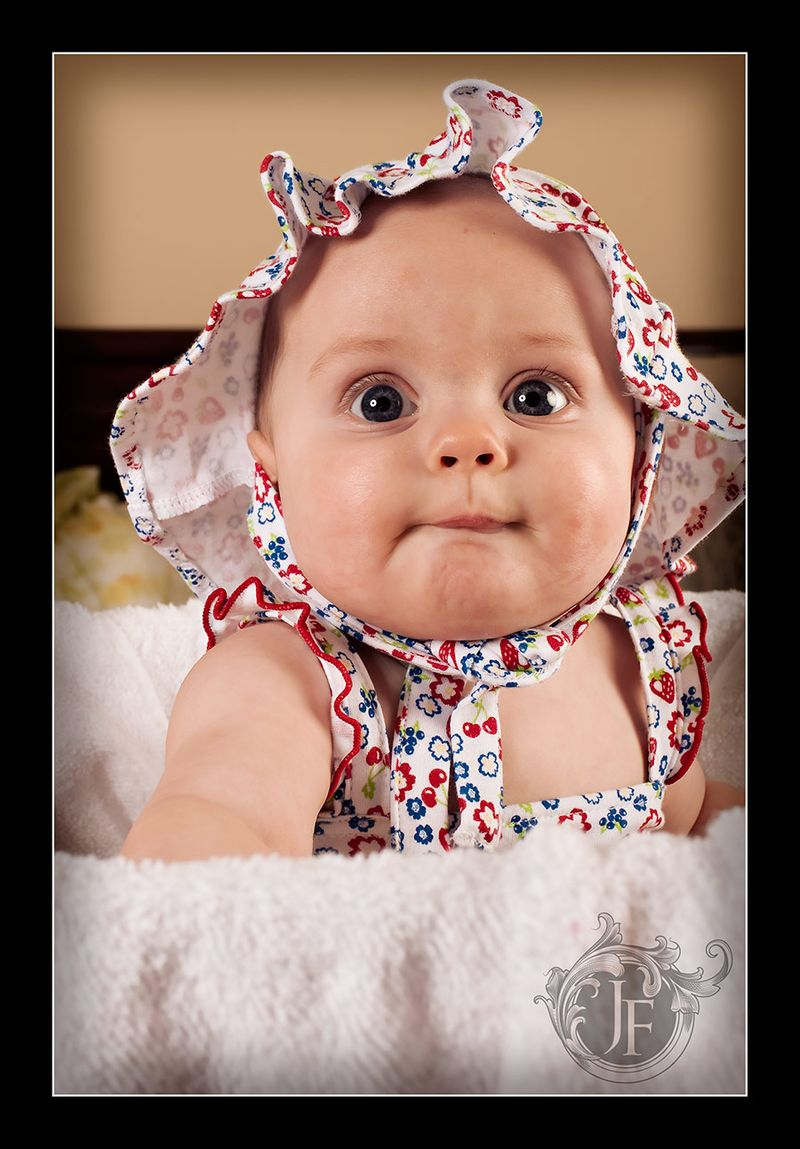 Beautiful little Selah in her cute bonnet.