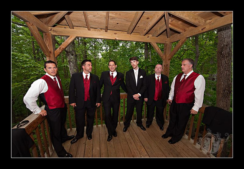 The groom, his best man, and the groomsmen in the Tree House at Lilly Creek Cottage. (Jeff Franks - Nikon D3)