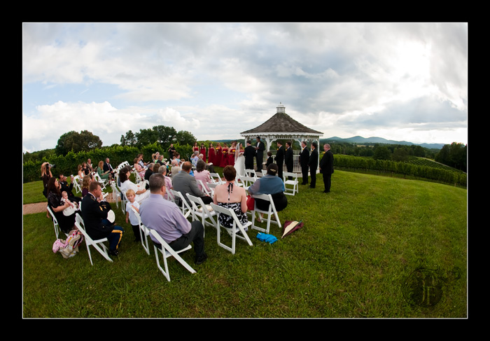 Joel and Mary exchange vows at the Three Sisters Vineyards gazebo. (Jeff Franks - Nikon D3)
