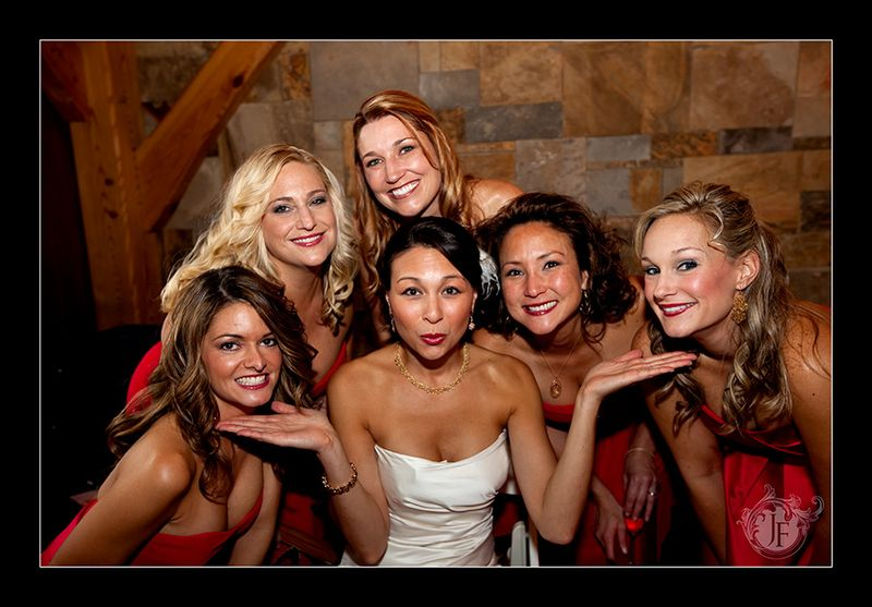 Maureen and her bridesmaids at Frogtown Cellars before the ceremony. (Kristy Dickerson - Canon 5D Mk II)