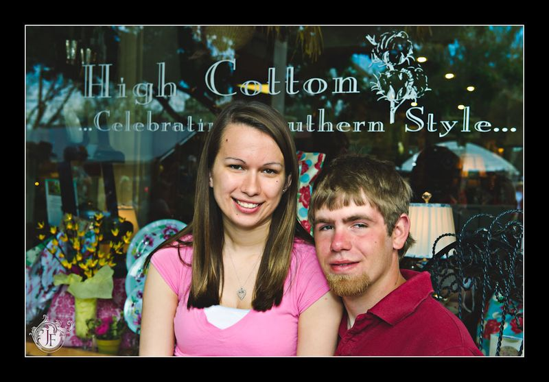 Amber & Josh in front of High Cotton, a shop off the square in Dahlonega.